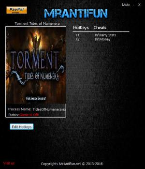 Torment: Tides of Numenera Trainer for PC game version 1.0.2