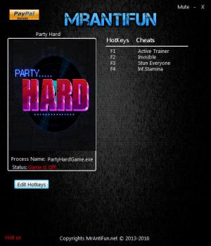 Party Hard Trainer for PC game version 1.4.1