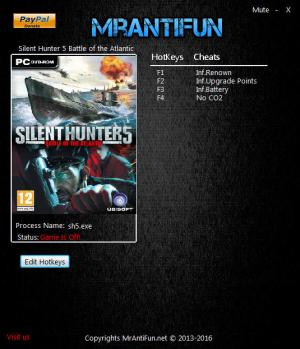 Silent Hunter 5: Battle of the Atlantic Trainer for PC game version 1.15 last update