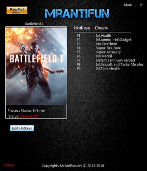 Battlefield 1 Trainer for PC game version 14164