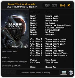 Mass Effect: Andromeda Trainer for PC game version 1.04 - 1.10