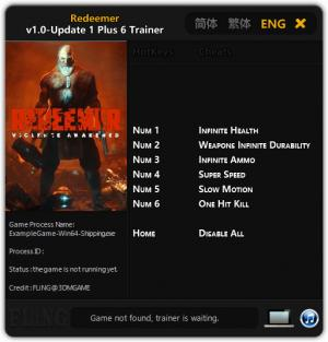 Redeemer Trainer for PC game version 1.0 Update 1