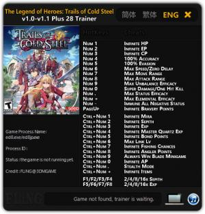 The Legend of Heroes: Trails of Cold Steel Trainer +28 v1.0 - 1.1 {FLiNG}