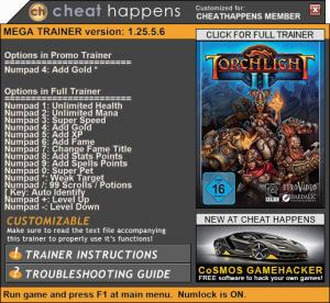 Torchlight 2 Trainer for PC game version 1.25.5.6
