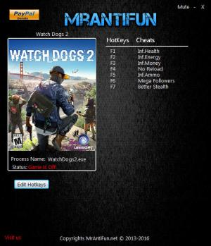 Watch Dogs 2 Trainer for PC game version 1.017.189