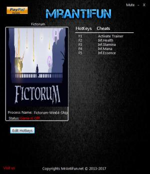 Fictorum Trainer for PC game version 1.0.5