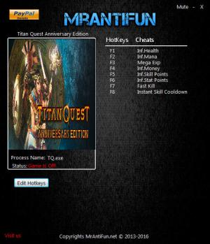 Titan Quest Anniversary Edition Trainer for PC game version 1.44