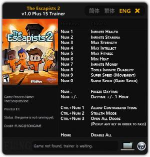 The Escapists 2 Trainer for PC game version 1.0