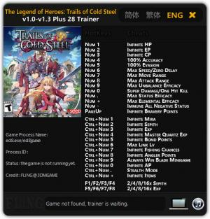 The Legend of Heroes: Trails of Cold Steel Trainer +28 v1.0 - 1.3 {FLiNG}