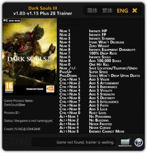 Dark Souls 3 Trainer for PC game version v1.03 - 1.15