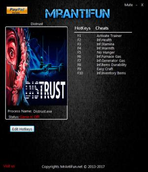 Distrust Trainer +9 v1.00 {MrAntiFun}