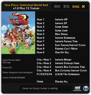One Piece: Unlimited World Red Trainer +15 v1.0 {FLiNG}