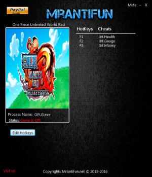 One Piece: Unlimited World Red Trainer +3 v1.00 {MrAntiFun}