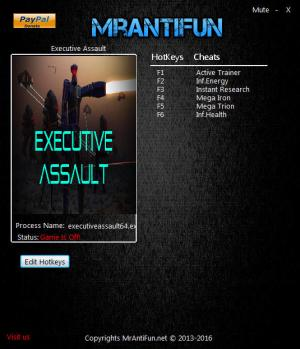 Executive Assault Trainer for PC game version 1.200.16 64bit