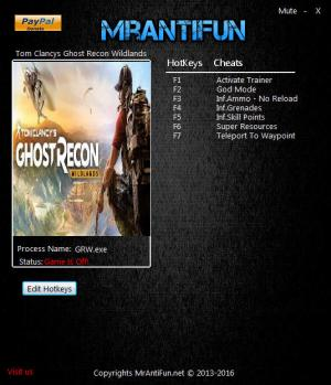 Tom Clancy's Ghost Recon Wildlands Trainer +7 v2415526 {MrAntiFun}