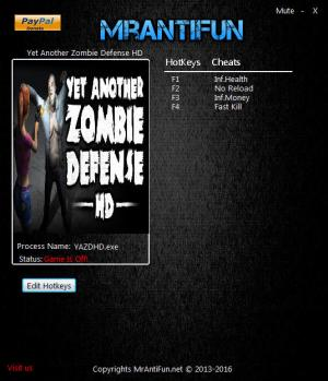 Yet Another Zombie Defense HD Trainer +4 v09.12.2017 {MrAntiFun}