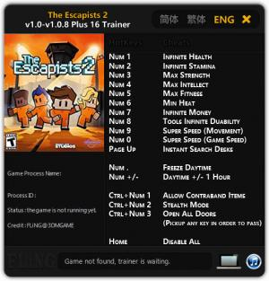 The Escapists 2 Trainer for PC game version v1.0 - 1.0.8