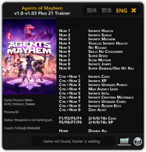 Agents of Mayhem Trainer +21 v1.0 - 1.03 {FLiNG}