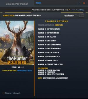 theHunter: Call of the Wild Trainer +12 v1.11.1 {LinGon}