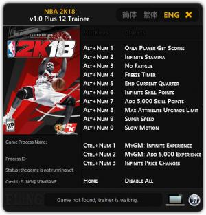 NBA 2K18 Trainer +12 v1.0 {FLiNG}