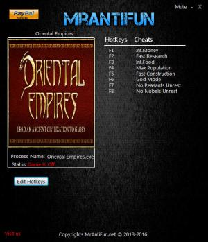 Oriental Empires Trainer for PC game version 09.12.2017