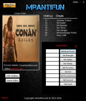Conan Exiles Trainer for PC game version 09.20.2017