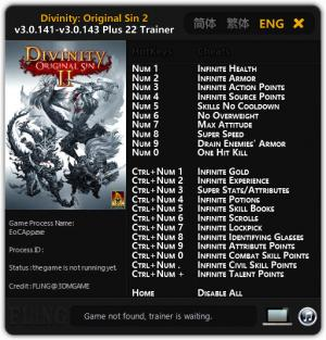 Divinity: Original Sin 2 Trainer for PC game version 3.0.141 - 3.0.143