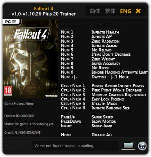 Fallout 4 Trainer for PC game version v1.0 - 1.10.26