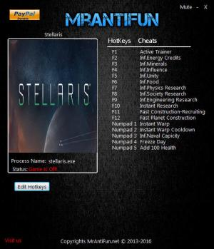 Stellaris  Trainer for PC game version v1.8.0