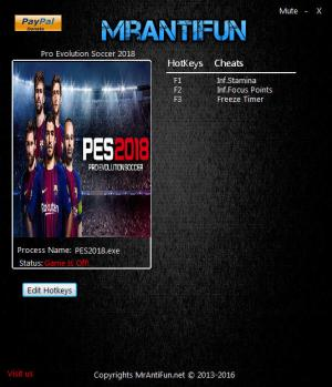 Pro Evolution Soccer 2018 Trainer +3 v1.00 {MrAntiFun}