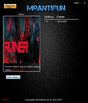 RUINER Trainer for PC game version 1.00