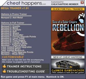 Sins of a Solar Empire: Rebellion Trainer +17 v1.91 (Cheat Happens)