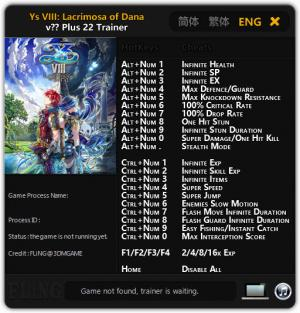 Ys VIII: Lacrimosa of DANA Trainer +22 All Version {FLiNG}