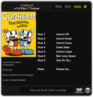 Cuphead Trainer for PC game version v1.0