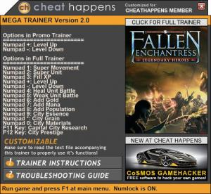 Fallen Enchantress: Legendary Heroes Trainer for PC game version 2.1