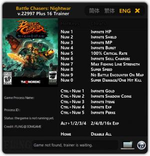 Battle Chasers: Nightwar Trainer +16 v.22997 {FLiNG}