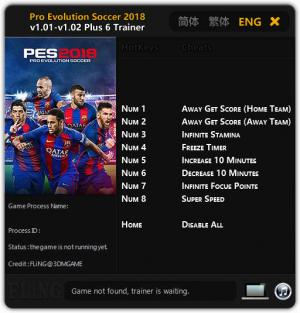 Pro Evolution Soccer 2018 Trainer +6 v1.01 - 1.02 {FLiNG}