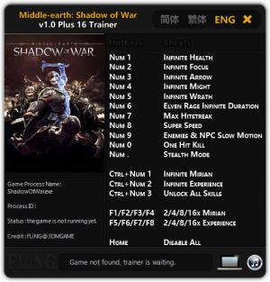 Middle-earth: Shadow of War Trainer +16 v1.0 {FLiNG}