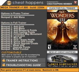 Age of Wonders 3 Trainer +13 v1.800 Build 22028 (Cheat Happens)