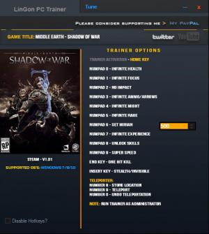 Middle-earth: Shadow of War Trainer +14 v1.01 {LinGon}