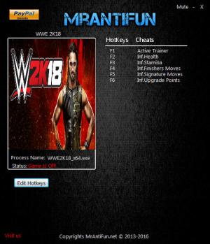 WWE 2K18 Trainer for PC game version v10.18.2017