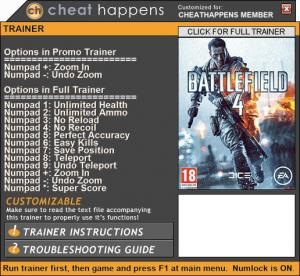 Battlefield 4 Trainer +12 v10.19.2017 32bit (Cheat Happens)