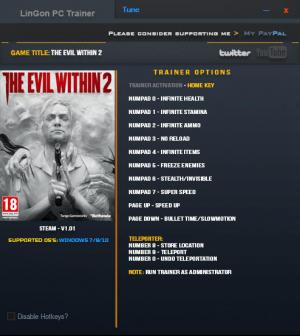 The Evil Within 2 Trainer for PC game version v1.01