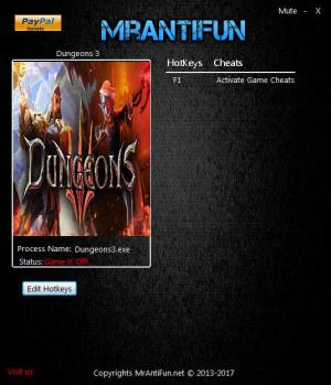 Dungeons 3 Trainer for PC game version v1.2.2