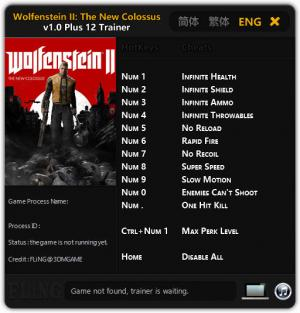 Wolfenstein 2: The New Colossus Trainer +12 v1.0 {FLiNG}