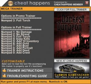 Darkest Dungeon Trainer for PC game version Build 21069