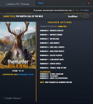 theHunter: Call of the Wild Trainer +12 v1.13 {LinGon}