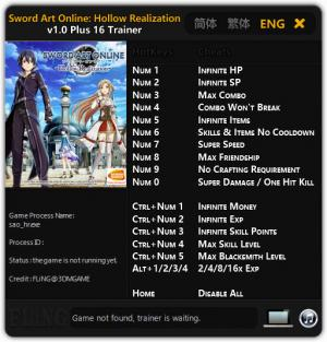 Sword Art Online: Hollow Realization Deluxe Edition Trainer +16 v1.0 {FLiNG}