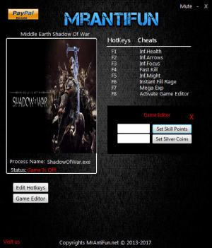 Middle-earth: Shadow of War Trainer for PC game version v1.02