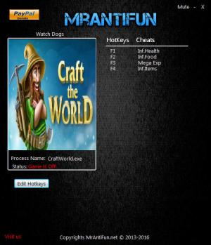 Craft The World Trainer for PC game version v1.4.011